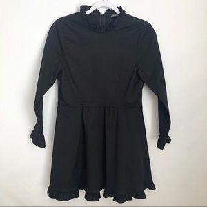 Zara   black long sleeve ruffle neck denim dress